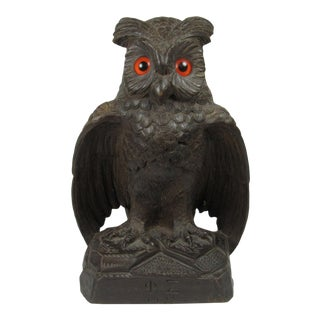 Black Forest Folk Art Carved Owl with Glass Eyes Signed Phi Sigma, 1927 For Sale