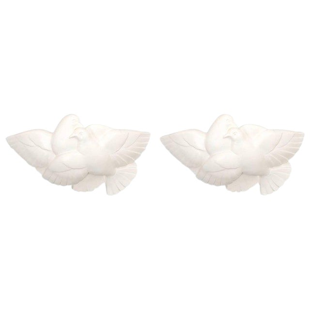 Pair of Art Deco White Plaster Dove Sconces Wall Lamps, France Circa 1935 For Sale