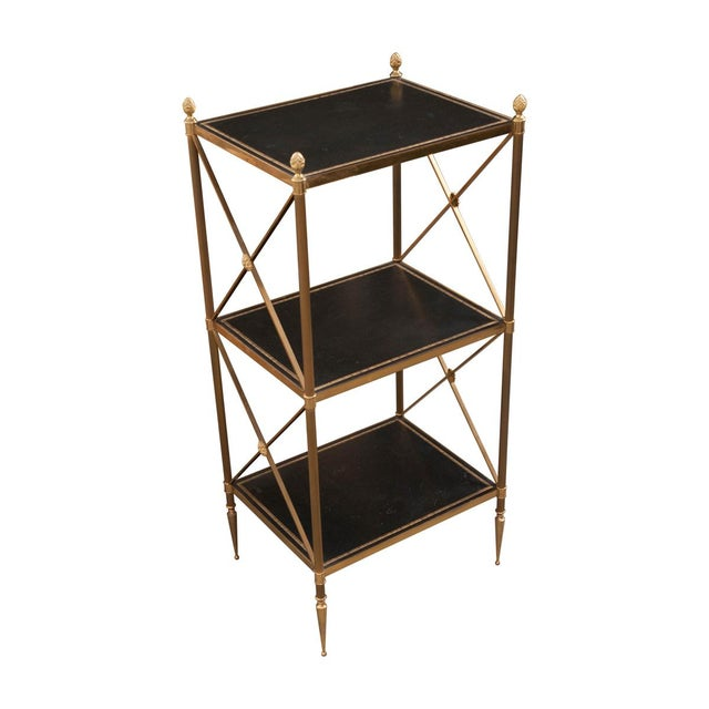 French 20th Century Neoclassical Brass and Leather Étagère For Sale - Image 10 of 10