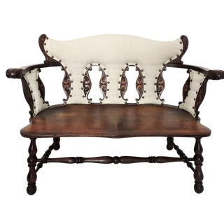 Antique Jacobean Tiger Oak Hall Bench