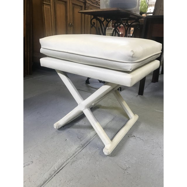 1970s White Leather X Base Benches - a Pair For Sale - Image 5 of 13