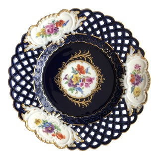Antique Meissen Porcelain Gold Gilt Reticulated Cobalt Blue Floral Cabinet Plate For Sale