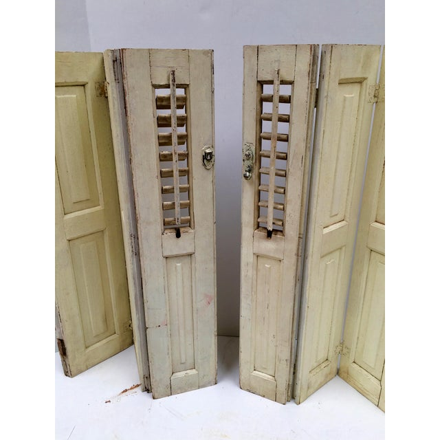 Metal Vintage French Mini Trifold Shutters - A Pair For Sale - Image 7 of 9