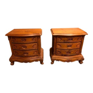 Traditional Solid Teak Classic Bedside Tables - a Pair For Sale