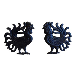 Cast Iron Roosters Wall Hangings - A Pair