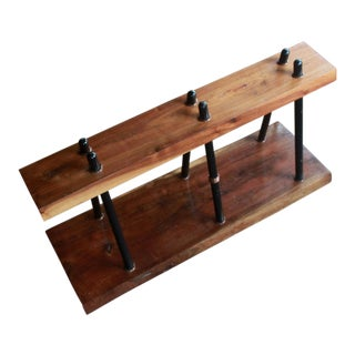 Mid Century Modern Walnut Organic Live Edge Bench / Plant Stand For Sale
