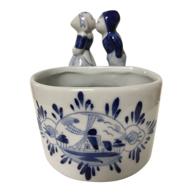 Blue & White Delft Bowl/Planter With Dutch Boy & Girl Kissing For Sale