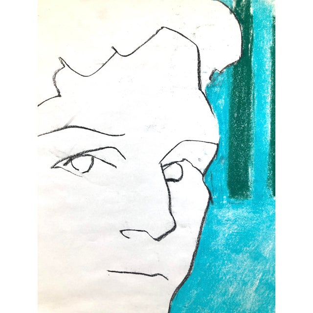 "Contemporary Portrait Drawing in Charcoal and Pastel, ""Self-Portrait, Blue and Green Line"", by Artist David O. Smith For Sale - Image 9 of 12"