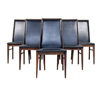 Vintage Mid Century Dillingham Baughman Walnut Dining Chairs- Set of 6 For Sale