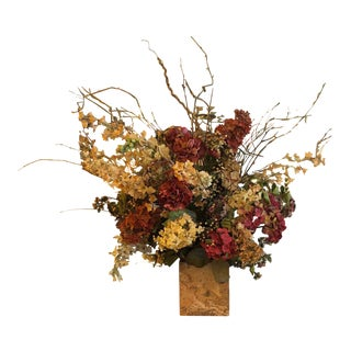 Large Silk Flower Arrangement in a Marble Base For Sale
