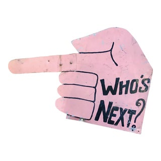 Vintage Hand Painted Who's Next Sign For Sale