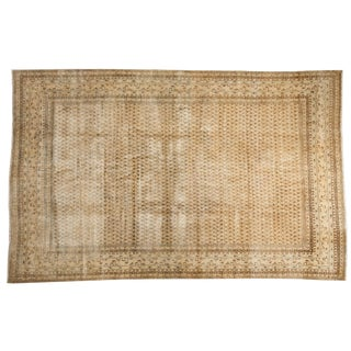 "Vintage Distressed Mir Sarouk Carpet - 6'8"" X 10'5"" For Sale"