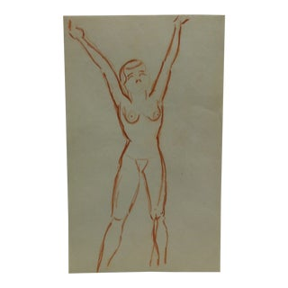 """Vintage Original Drawing on Paper, """"Leaning Back Nude"""" by Tom Sturges Jr., Circa 1945 For Sale"""