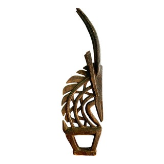 Vintage African Antelope Wood Statue Headdress For Sale