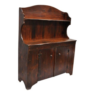 Antique Country Primitive Knotty Pine Cupboard Cabinet Sideboard Stepback Hutch