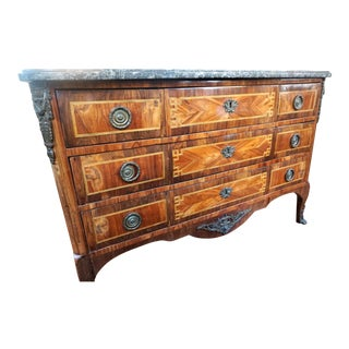 Louis XV Marquetry Commode with Marble For Sale