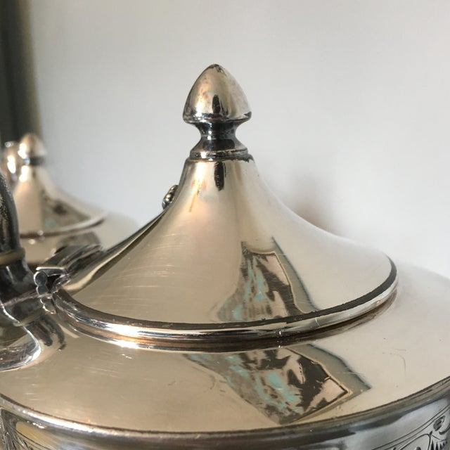 "Aesthetic Movement 1910s American Classical Wilcox Monogram ""D"" Silver Plate Tea and Coffee Service - 4 Pieces For Sale - Image 3 of 13"