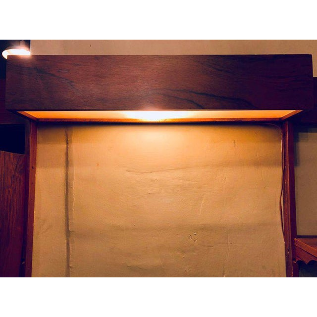 Midentury Rosewood Wall-Unit Including Table, Desk, Curio Cabinet and Light For Sale - Image 11 of 13