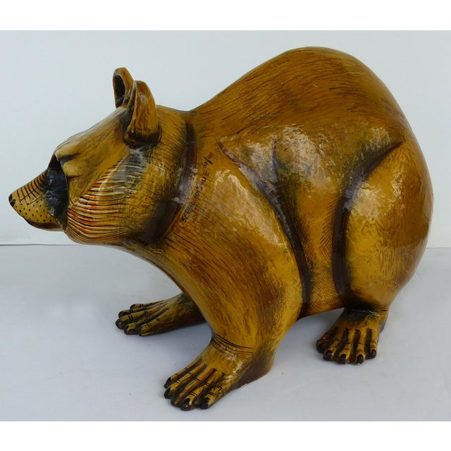 Offered for sale is a mid-century modern larger than life papier mache sculpture of a raccoon by the Mexican artist Sergio...