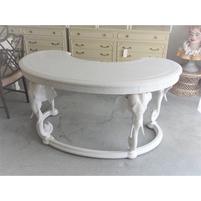 White Gampel Stoll Fretwork Elephant Desk For Sale - Image 8 of 13