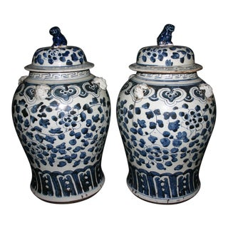 Late 19th Century Antique Chinese Blue & White Urns - A Pair For Sale