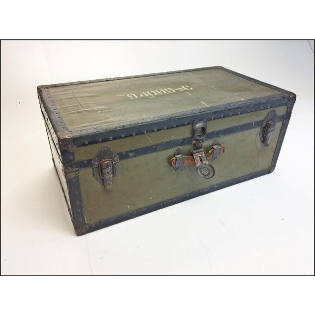 Industrial Vintage Industrial Green Us Military Foot Locker Trunk For Sale - Image 3 of 13