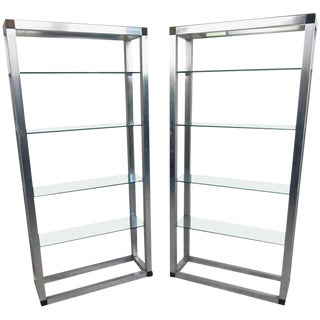 Mid-Century Aluminum Etageres - a Pair For Sale
