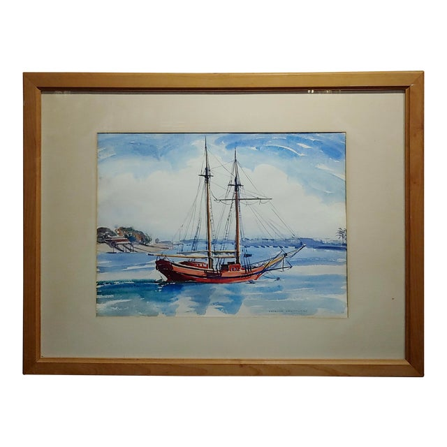 Virgene Hawthorne - Red Sail Boat Resting at Bay - 1950s Painting For Sale