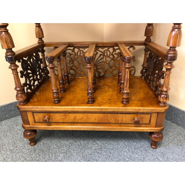A stunning Italian carved burl canterbury, magazine holder and side table console having rosewood and ebony inlay,...