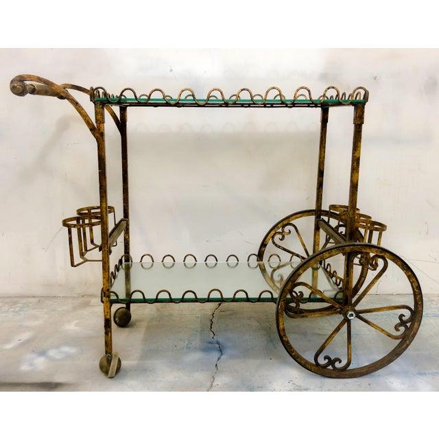 Hollywood Regency Italian Gilt Metal Bar Cart For Sale In Atlanta - Image 6 of 6