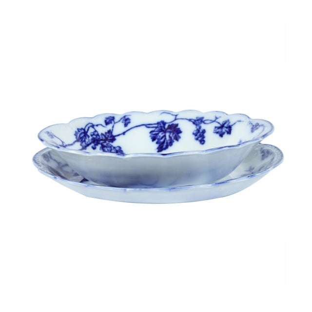 Flow Blue Warwick Bowl & Tray by Johnson Brothers - Image 2 of 4