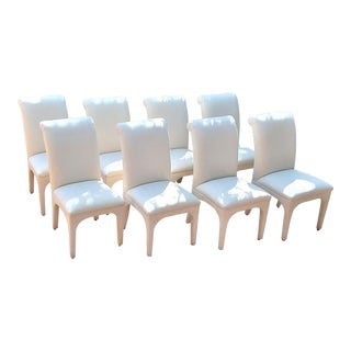 1980s Vintage Upholstered Parsons Chairs - Set of 8 For Sale