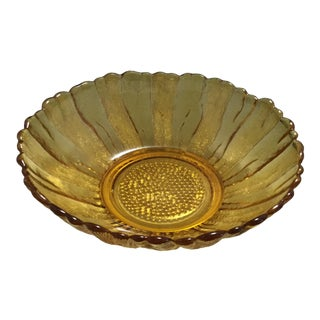 Amber Pressed Glass Bowl For Sale
