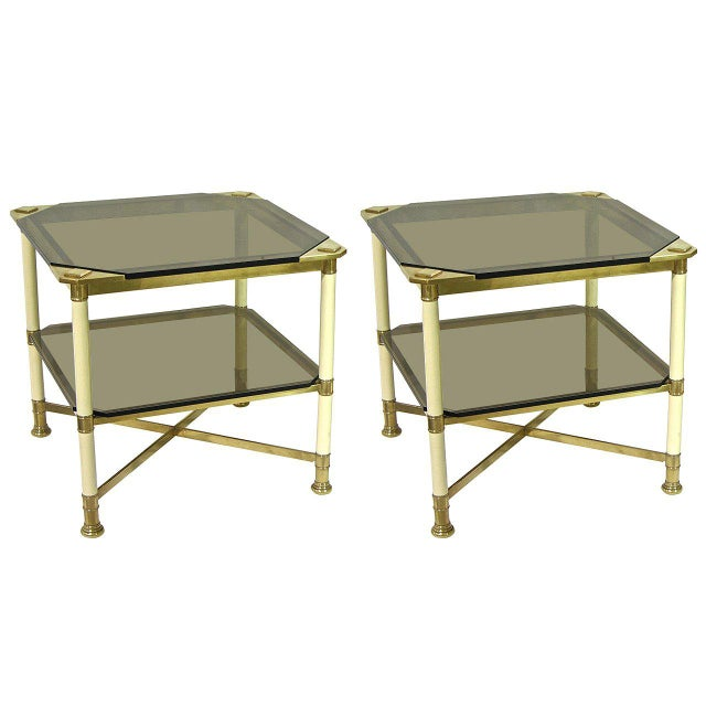 Vivai Del Sud 1970s Smoked Glass and Ivory Brass Side Tables - a Pair For Sale - Image 11 of 11