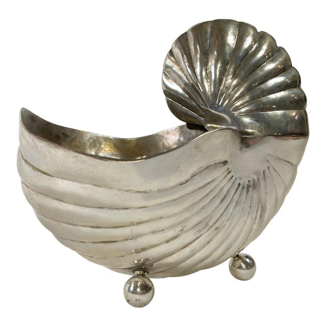 Silver Nautilus Shell Planter For Sale