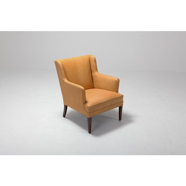 Scandinavian Modern Bergere Chairs in Camel Leather For Sale - Image 9 of 11
