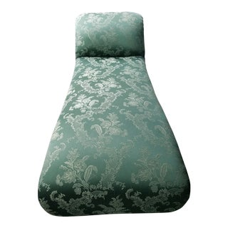 Antique 1880s Green Floral Re Upholstered Chaise Lounge For Sale