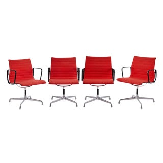 Set of 4 Eames Aluminum Group Chairs W/ Original Upholstery Circa 1960s