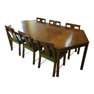 1960 Edward Wormley for Dunbar Hexagonal Dining Table With Custom Chairs Set For Sale