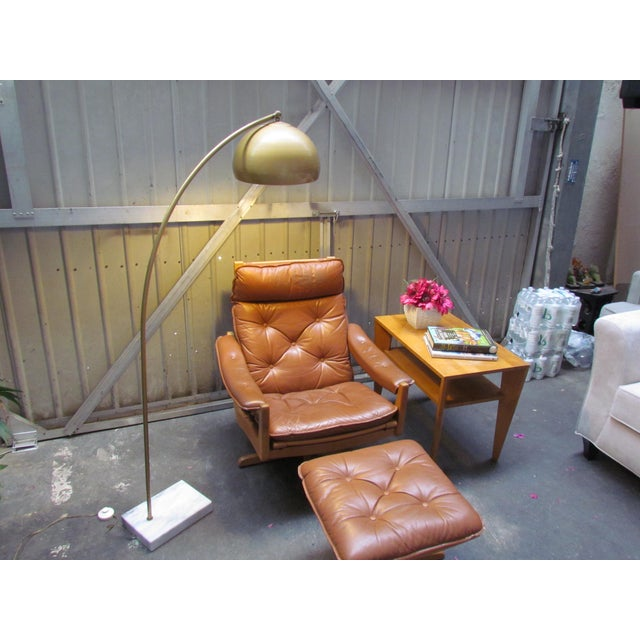Lied Mobler Mid-Century Leather Recliner Chair & Ottoman - Image 4 of 9