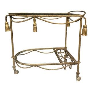 Hollywood Regency Mid Century Gold Gilt Tassel Bar Cart For Sale