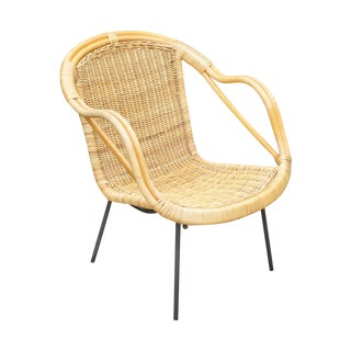 Mid-Century Wicker Shell Chair For Sale