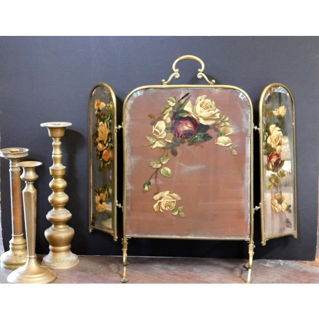 Brass Antique Decorative Fireplace Screen For Sale - Image 8 of 10