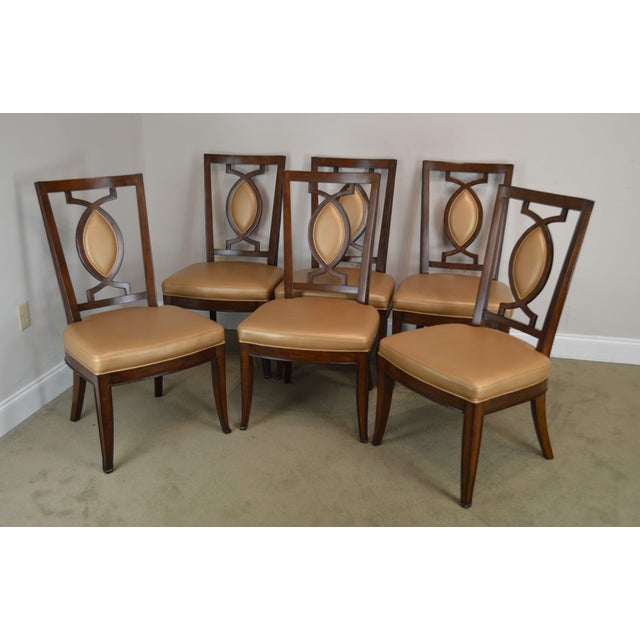 High Quality Set of 6 Solid Wood Frame Custom Upholstered Dining Chairs