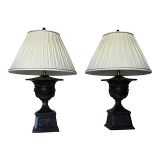 Maitland-Smith Bronze Urn Table Lamps - A Pair