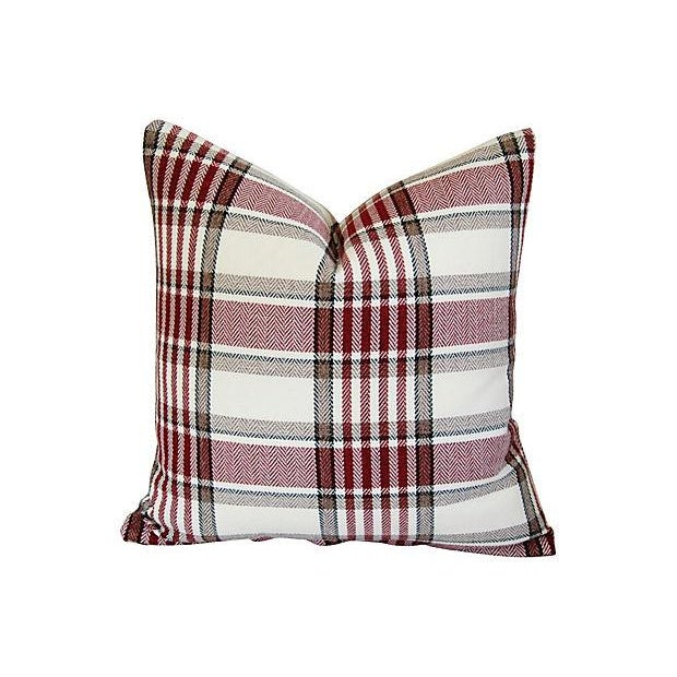 Custom Red, White & Black Plaid Pillows - A Pair - Image 2 of 7