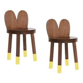 Nico & Yeye Lola Kids Chair Solid Walnut and Walnut Veneers Yellow - Set of 2 For Sale