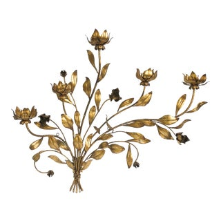 Vintage Italian Gilded Tole Floral Wall Sculpture For Sale