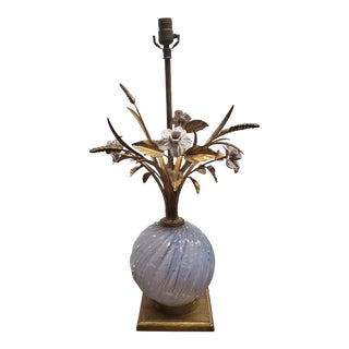 Murano Glass Floral Motif Tole Lamp by Barovier & Toso Italy For Sale