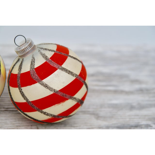 Striped West German Christmas Ornaments - Set of 5 For Sale - Image 4 of 11